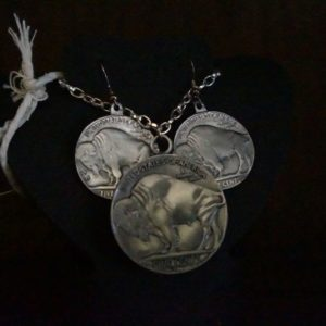 pewter buffalo nickel necklace earring set