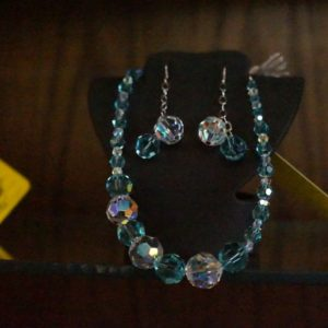 aquamarine clear swarovski crystal necklace earrings